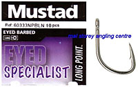 Mustad Eyed Barbed Specialist Hooks
